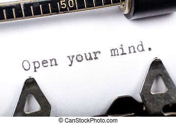 Open your mind - Typewriter close up shot, concept of Open...