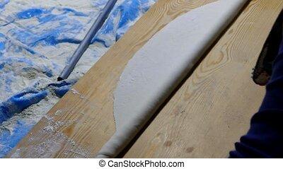 open yufka dough in tandoor, yufka bread in middle anatolia,