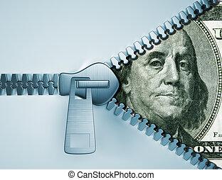 Open zipper showing money. Making money concept. 3d render