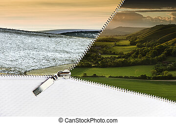 Open zipper showing Winter landscape scene changing to glorious Summer landscape with copy space at bottom