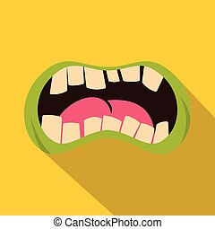 Open zombie mouth icon, flat style