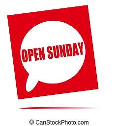 open, zondag, tekstballonetje, pictogram