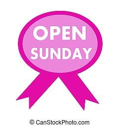 open, zondag, witte , bewoording, op achtergrond, rooskleurig lint