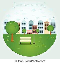 openbaar park, in de stad