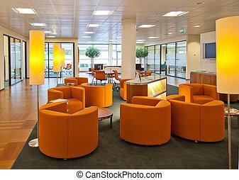 openbare ruimte, in, bank, kantoor