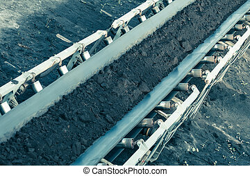 Opencast brown coal mine. Belt conveyor. - Open pit. ...