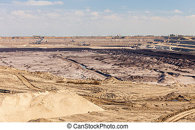 Opencast brown coal mine. Open pit. - Open pit. Opencast...