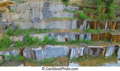 Opencast mining granite. Aerial survey - Quarry for open...