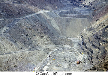 Opencast mining - General view of the iron ore opencast...