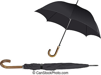 Opened and closed black umbrella. Vector illustration