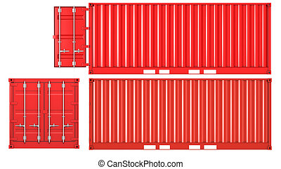 Opened and closed container front and side view - Opened and...