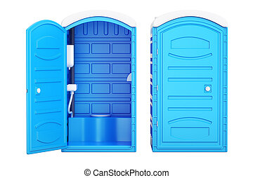Opened and closed mobile portable blue plastic toilets, 3D...