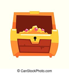 Opened antique treasure chest vector Illustration on a white background