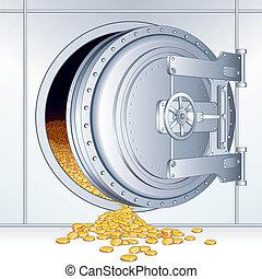 Opened Bank Storage - Open Vault Door with a Full of Money...