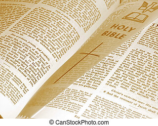 Opened bible with marker in sepia tones