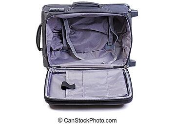 Opened big black suitcase isolated on white background