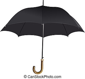 Opened black umbrella. Vector illustration