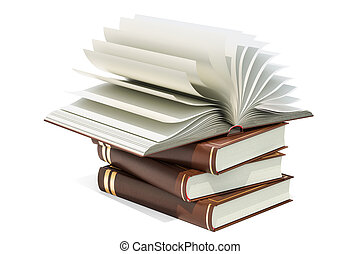 Opened blank book on the heap of books, 3D rendering