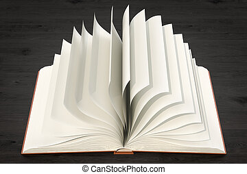 Opened blank book on the wooden table, 3D rendering