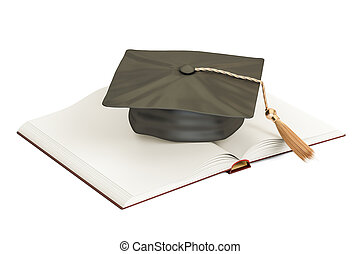 Opened blank book with graduation cap. 3D rendering