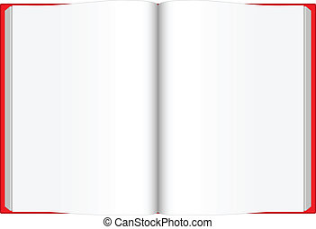Opened blank book with red cover - Vector illustration of...
