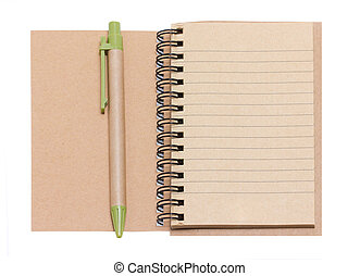 Opened Blank Notebook With Pen Isolated on White.