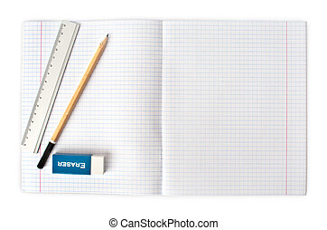 opened blank notebook with pencil and eraser