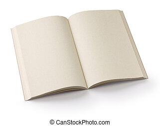 opened blank paperback isolated on white background