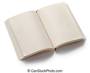 opened blank paperback with bookmark isolated on white ...