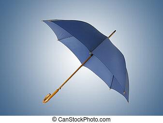 Opened blue umbrella isolated on white background