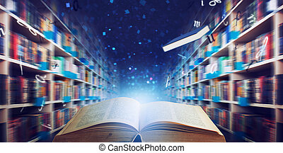 Opened book in a library. concept of reading opens the imagination