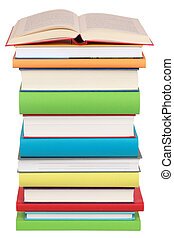 Opened book on a stack of books