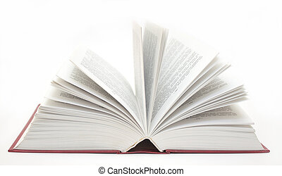 Opened book - object over white