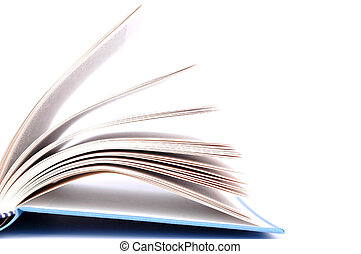 Opened book with blue cover on white background