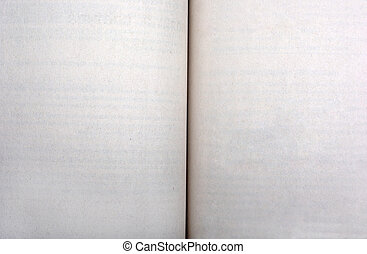 Opened book with empty yellowing pages as background or backdrop.