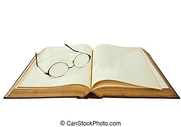 opened book with eye glasses isolated on white background
