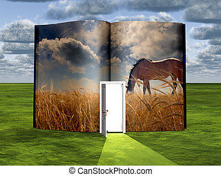 Opened book with Horse - Surrealism. Book with opened door...