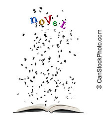"""Opened book with letters bursting out of it, some shaping colorful word """"Novel"""" isolated on white."""
