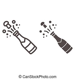 Opened bottle of champagne line and solid icon, New Year concept, Holiday bottle opening sign on white background, Champagne bottle explosion icon in outline style for mobile and web. Vector graphics.