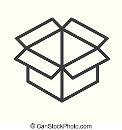 opened box outline icon flat design style.