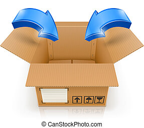 opened box with arrow inside vector illustration isolated on...