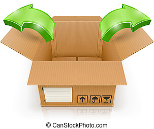 opened box with arrow outside vector illustration isolated...