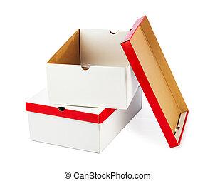 Opened boxes isolated on white background