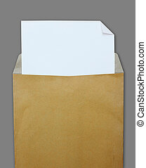 Opened brown envelope with white paper on grey background