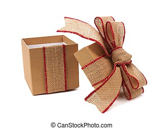 Opened brown gift box with rustic burlap bow and ribbon