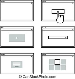 Opened browser window template. Past your content into it. web s