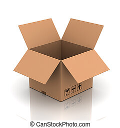opened cardboard box 3d illustration