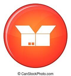Opened cardboard box icon, flat style