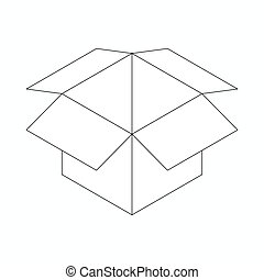 Opened cardboard box icon, isometric 3d style