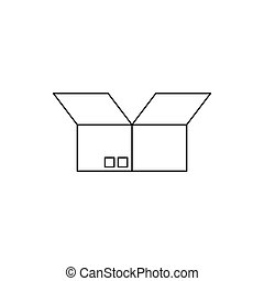 Opened cardboard box icon, outline style